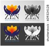 zen   hands   lotus flower... | Shutterstock .eps vector #609324128