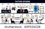 tattoo studio interior design ... | Shutterstock .eps vector #609326228