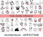 cute doodle collection. simple... | Shutterstock .eps vector #609327368
