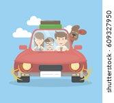 family in car travel. mother... | Shutterstock .eps vector #609327950