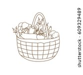 basket with vegetables  a... | Shutterstock . vector #609329489