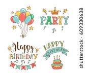 set of birthday hand drawn... | Shutterstock .eps vector #609330638