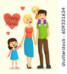 happy cartoon family  | Shutterstock .eps vector #609331634