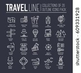 collection of travel tools... | Shutterstock .eps vector #609331928