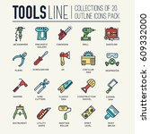 collection of working tools... | Shutterstock .eps vector #609332000