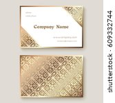 gold business card with... | Shutterstock .eps vector #609332744