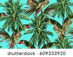 palm trees  tropical leaves ... | Shutterstock .eps vector #609333920