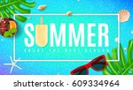 beautiful summer background... | Shutterstock .eps vector #609334964