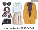 lady fashion set of autumn ... | Shutterstock .eps vector #609336044
