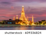 wat arun night view temple in... | Shutterstock . vector #609336824