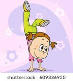 girl make handstand   vector... | Shutterstock .eps vector #609336920