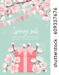 vertical template with pink... | Shutterstock .eps vector #609337676