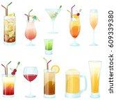 cocktail glasses vector set ... | Shutterstock .eps vector #609339380