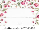 flowers composition. frame made ... | Shutterstock . vector #609340430