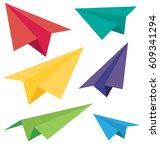 vector paper plane icons. | Shutterstock .eps vector #609341294