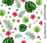 tropic exotic hibiscus flowers... | Shutterstock .eps vector #609342068