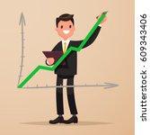 businessman draws a graph going ... | Shutterstock .eps vector #609343406