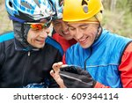 group of cyclists in helmets...   Shutterstock . vector #609344114
