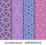 set of seamless floral pattern... | Shutterstock .eps vector #609344324