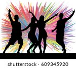 dancing people silhouettes.... | Shutterstock .eps vector #609345920