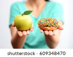 it s hard to choose healthy... | Shutterstock . vector #609348470