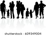 vector silhouette of family. | Shutterstock .eps vector #609349004