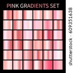 pink rose gradients. collection ... | Shutterstock .eps vector #609351638