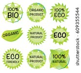 set of 100  organic product... | Shutterstock .eps vector #609355544