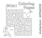 cartoon crow maze game. vector... | Shutterstock .eps vector #609360230