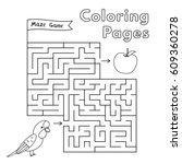 cartoon parrot maze game.... | Shutterstock .eps vector #609360278