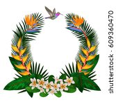 tropical round frame with... | Shutterstock .eps vector #609360470