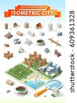 build your own isometric city . ... | Shutterstock .eps vector #609361328