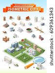 build your own isometric city . ... | Shutterstock .eps vector #609361343