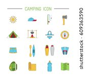 vector linear icons on the... | Shutterstock .eps vector #609363590