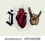 love rock'n'roll print  ... | Shutterstock .eps vector #609368288