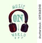 headphones print   music on...   Shutterstock .eps vector #609368348