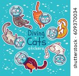 sticker set of diving cats in... | Shutterstock .eps vector #609370034