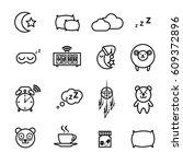 sleeping icons set | Shutterstock .eps vector #609372896