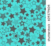 hand drawing doodle stars... | Shutterstock .eps vector #609379604