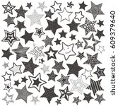 hand drawing doodle stars... | Shutterstock .eps vector #609379640