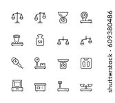 scales and weighing vector icon ... | Shutterstock .eps vector #609380486