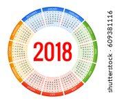 2018 calendar. print template....   Shutterstock .eps vector #609381116