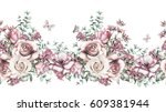 isolated seamless  border with... | Shutterstock . vector #609381944