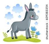 Cartoon Donkey Is Standing In ...