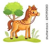 cartoon horse standing in a... | Shutterstock .eps vector #609390083