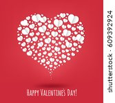 happy valentines day poster  | Shutterstock . vector #609392924