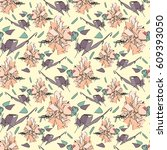 delicate seamless pattern with... | Shutterstock .eps vector #609393050