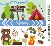 camping party | Shutterstock .eps vector #609393800