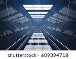 dark futuristic tunnel interior.... | Shutterstock . vector #609394718