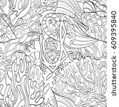 tracery seamless pattern.... | Shutterstock .eps vector #609395840